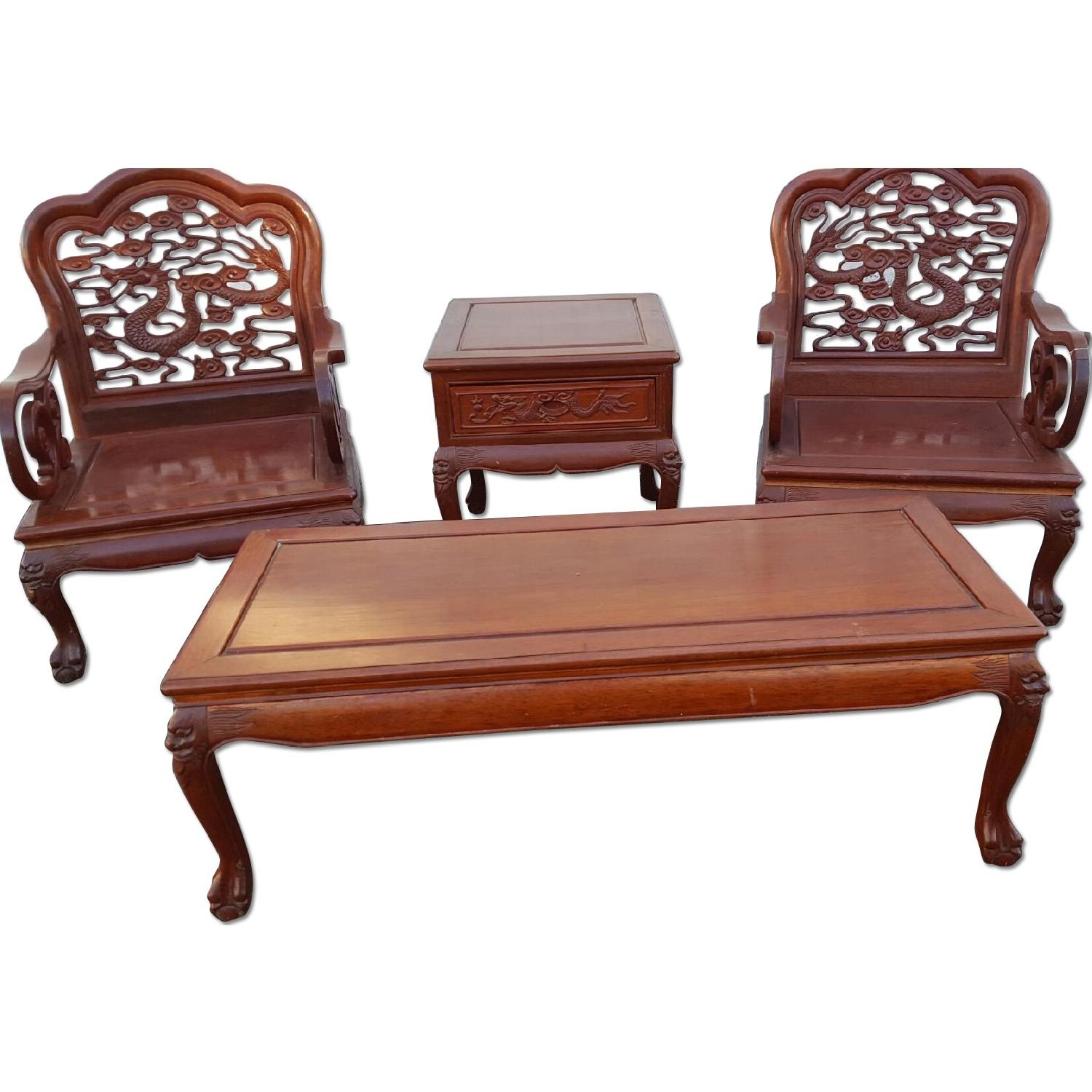 Mid Century Chinese Coffee Table + End Tables + 2 Chairs