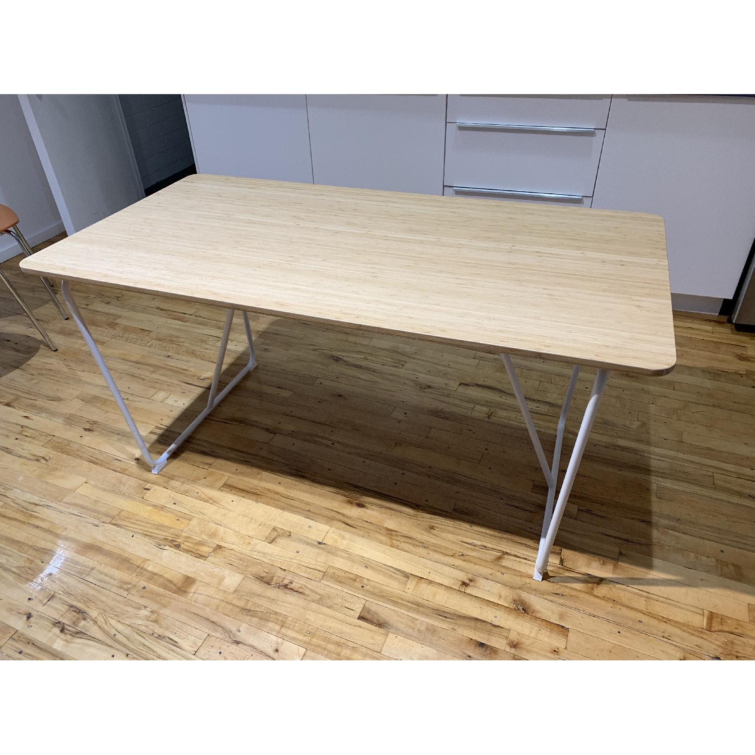 Picture of: Ikea Ovraryd White Bamboo Table W Steel Frame Aptdeco