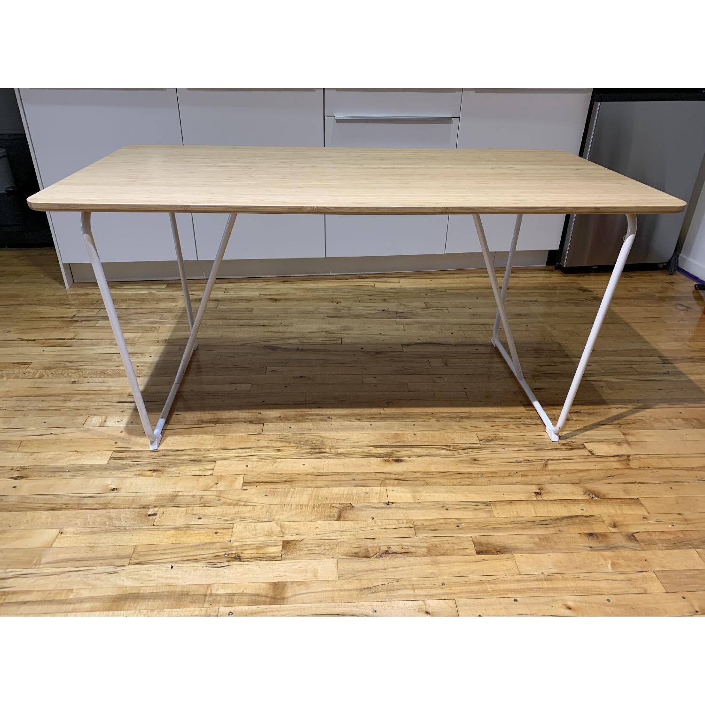Ikea Ovraryd White Bamboo Table W Steel Frame Aptdeco