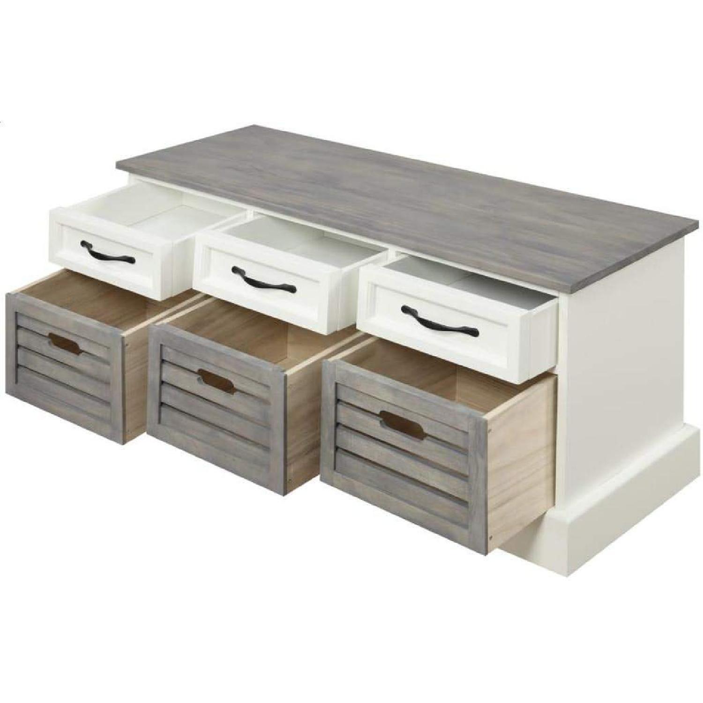 6-Drawer Storage Bench in White & Grey Finish - image-1