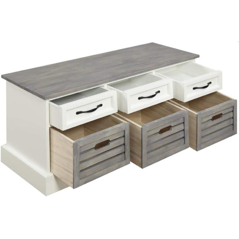 6-Drawer Storage Bench in White & Grey Finish - image-0