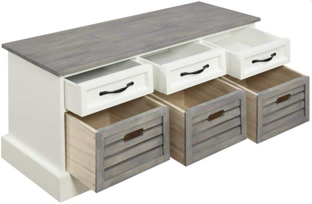 6-Drawer Storage Bench in White & Grey Finish