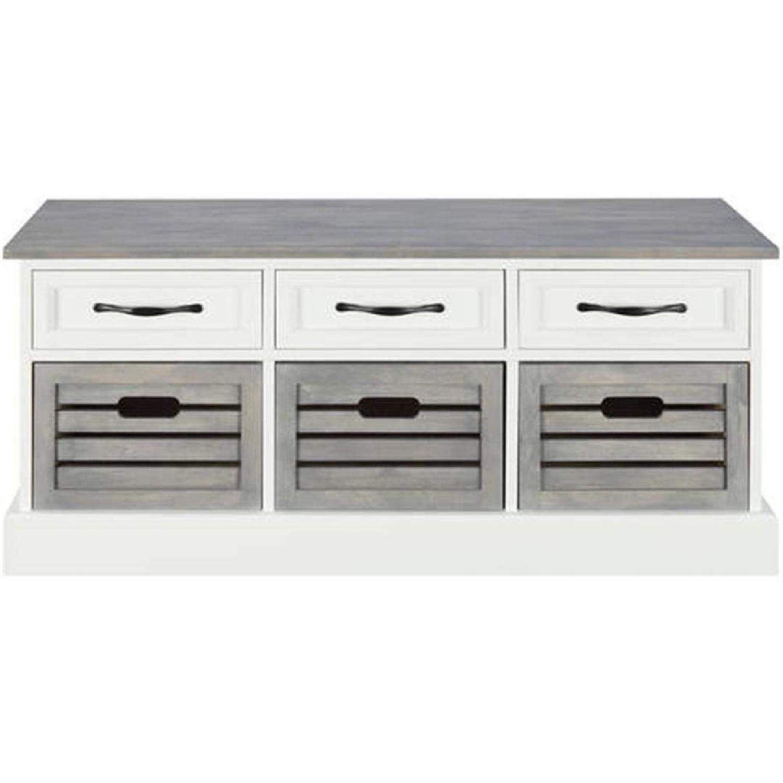 6-Drawer Storage Bench in White & Grey Finish - image-2