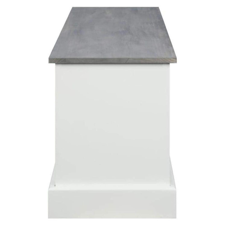 6-Drawer Storage Bench in White & Grey Finish - image-3