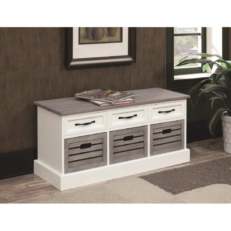 6-Drawer Storage Bench in White & Grey Finish - image-4