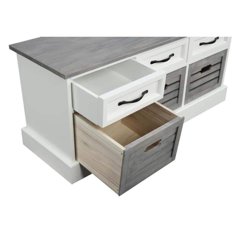 6-Drawer Storage Bench in White & Grey Finish - image-5