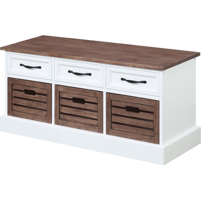 6-Drawer Storage Bench in White & Grey Finish - image-6