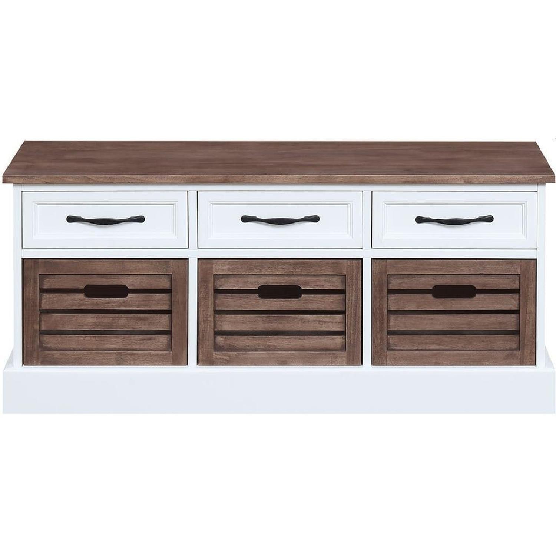 6-Drawer Storage Bench in White & Grey Finish - image-7