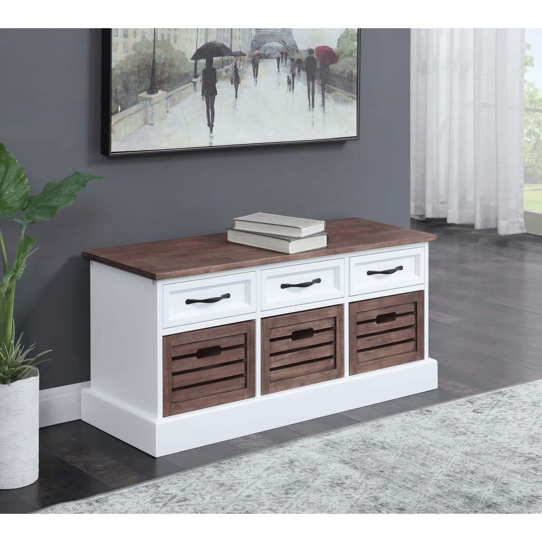 6-Drawer Storage Bench in White & Grey Finish - image-8