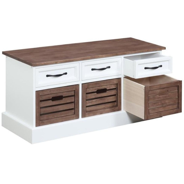 6-Drawer Storage Bench in White & Grey Finish - image-9