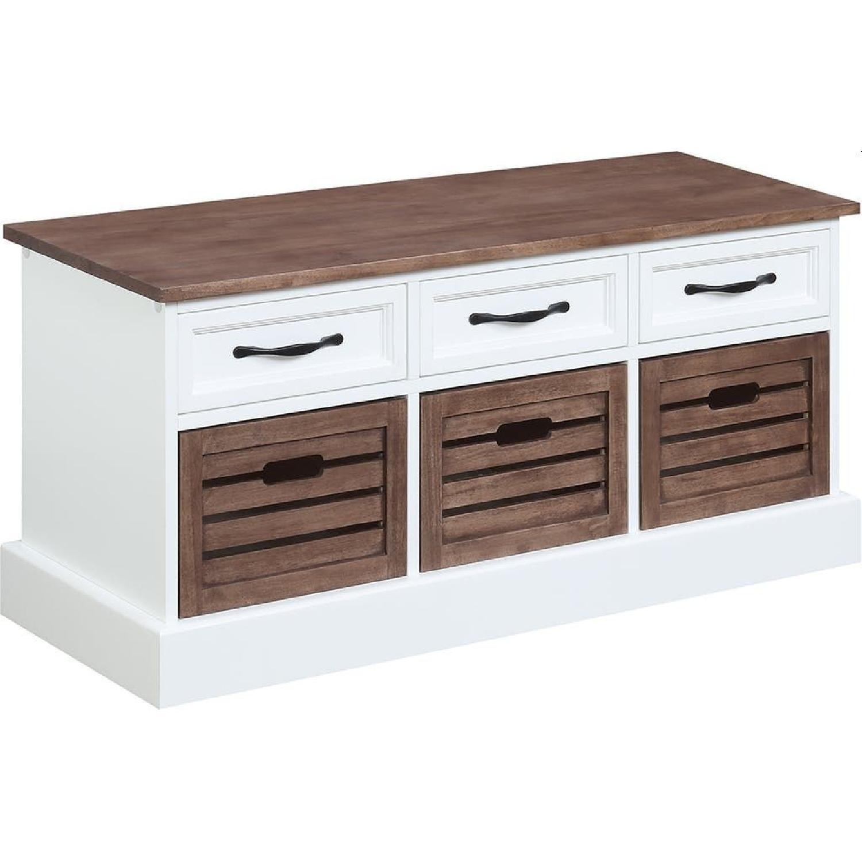 6-Drawer Storage Bench in White & Grey Finish - image-10