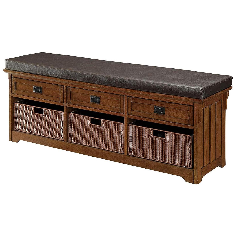 6-Drawer Storage Bench in White & Grey Finish - image-11