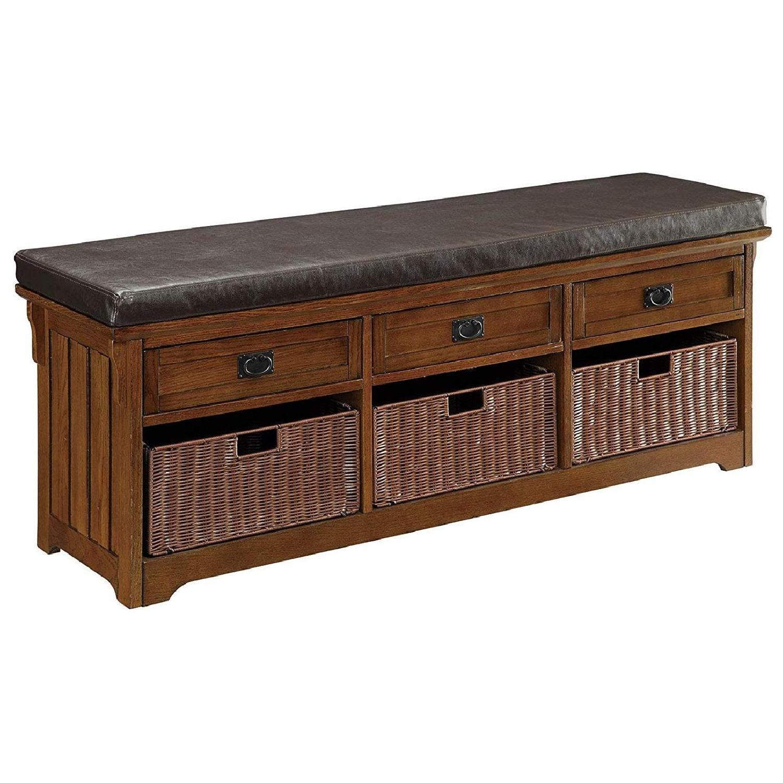 6-Drawer Storage Bench in White & Grey Finish - image-12