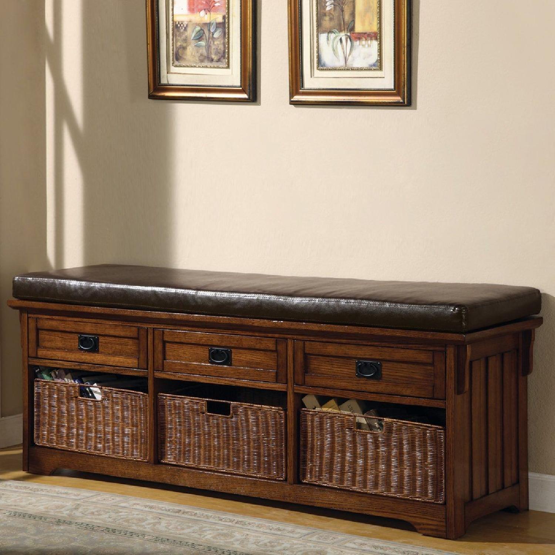 6-Drawer Storage Bench in White & Grey Finish - image-13