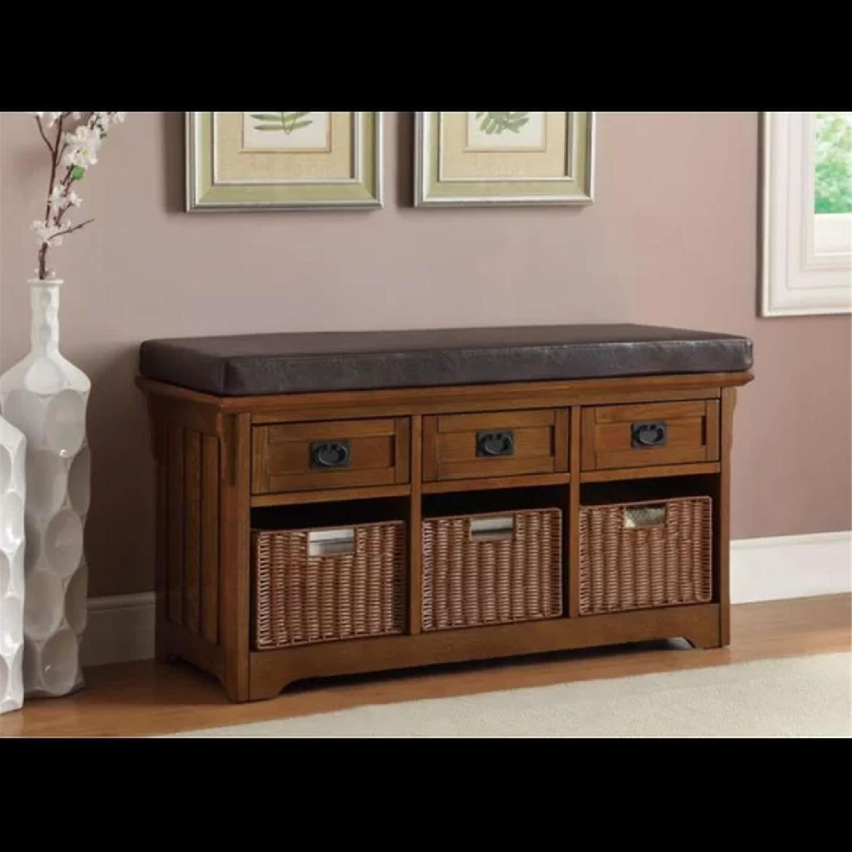 6-Drawer Storage Bench in White & Grey Finish - image-14
