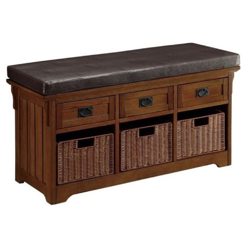 6-Drawer Storage Bench in White & Grey Finish - image-15