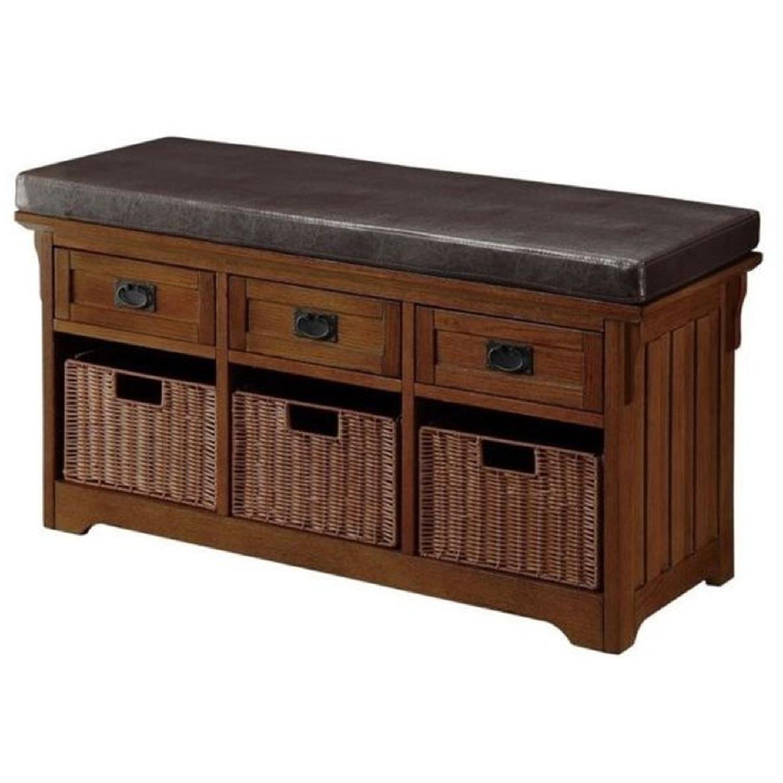 6-Drawer Storage Bench in White & Grey Finish - image-16