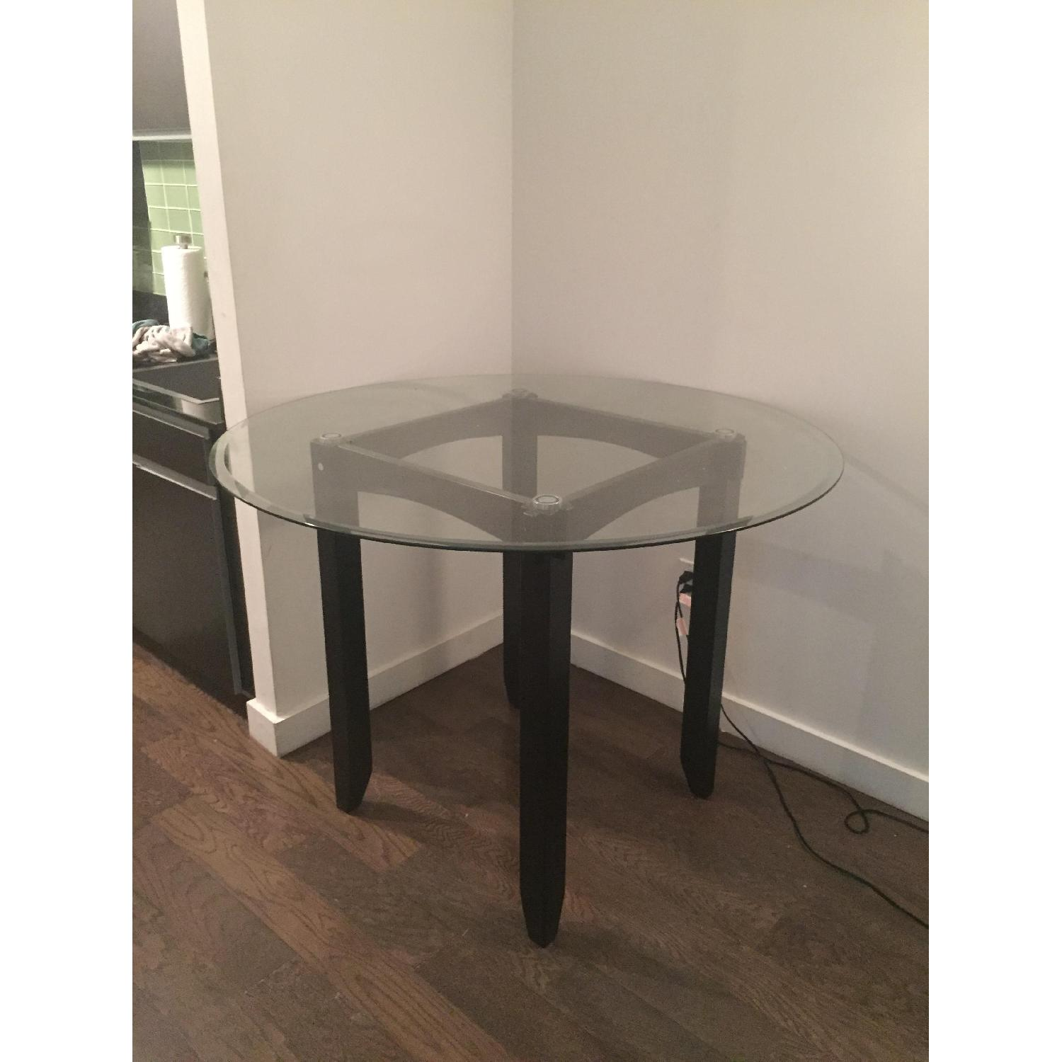 Ashley Glass Coffee Table.Ashley Glass Dark Wood Counter Height Table