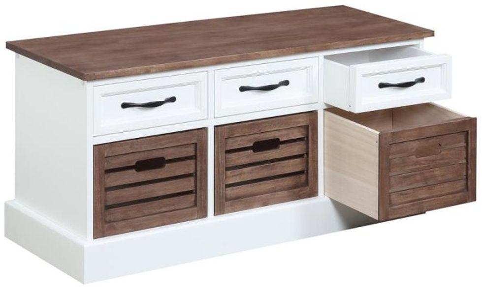 6-Drawer Storage Bench in White & Brown Finish