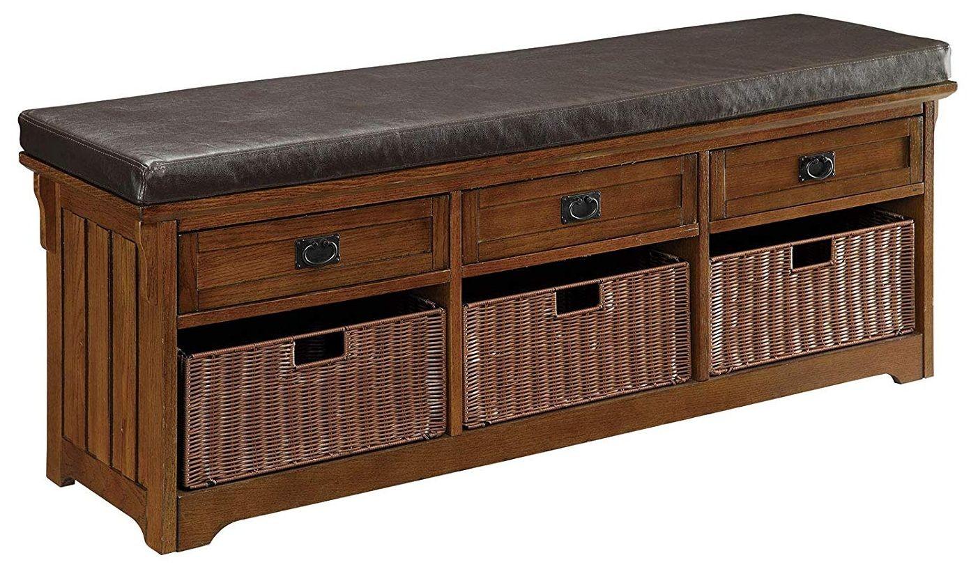 Storage Bench w/ Brown Faux Leather Cushion