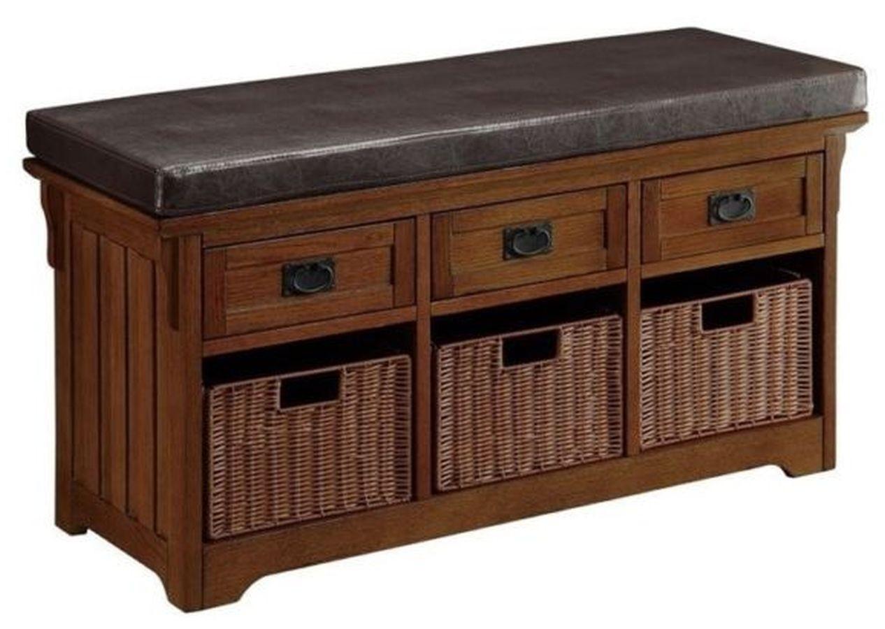 Storage Bench in Medium Brown Finish