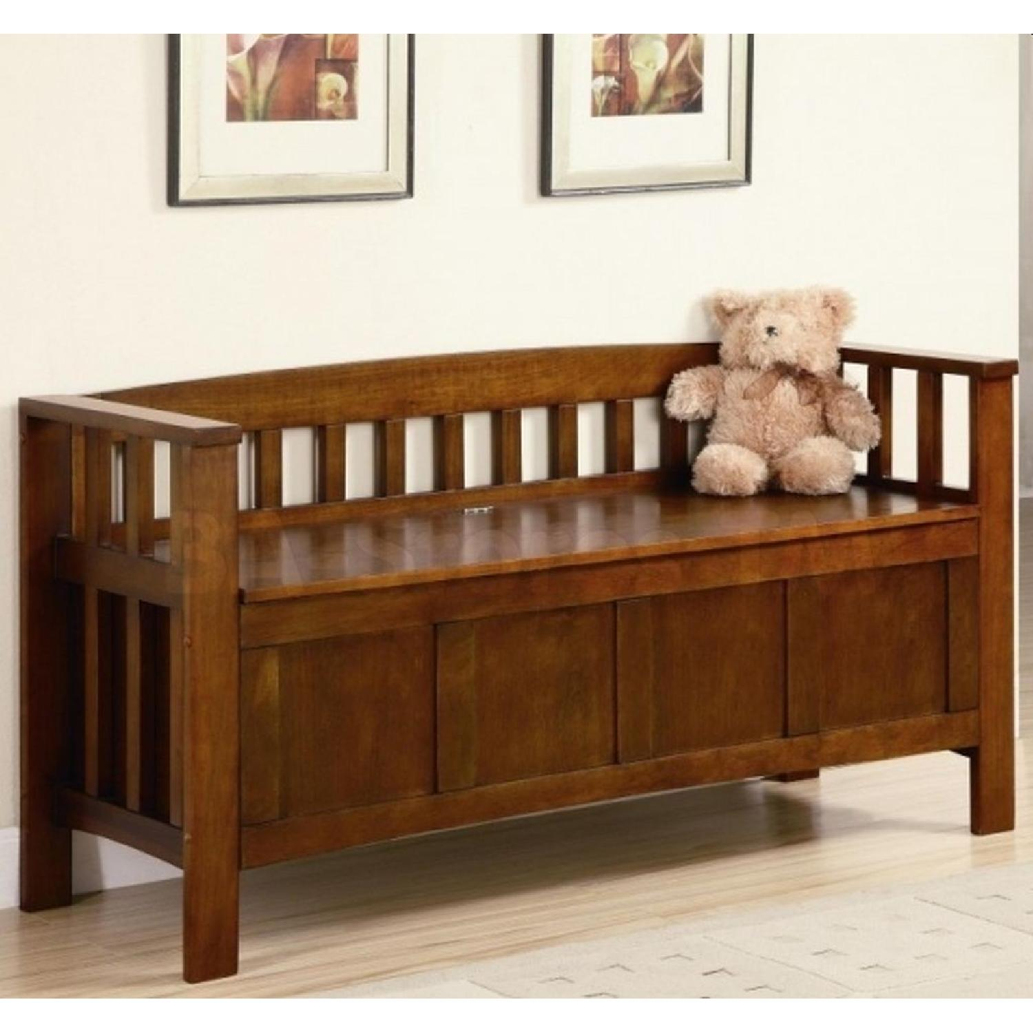 Storage Bench in Brown Finish - image-2