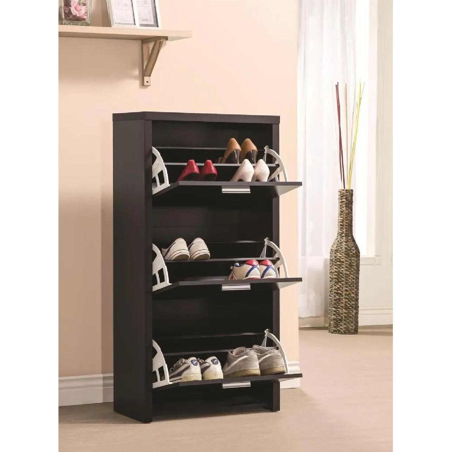 3-Compartment Shoe Storage Cabinet in Black Finish - image-2