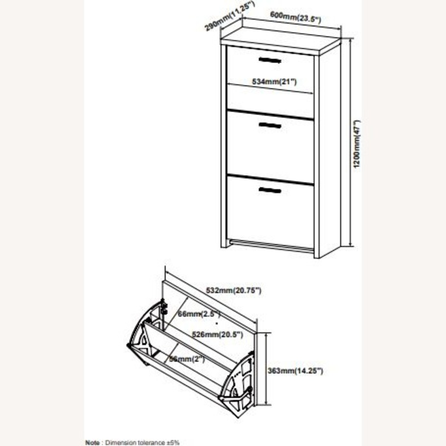 3-Compartment Shoe Storage Cabinet in Black Finish - image-4