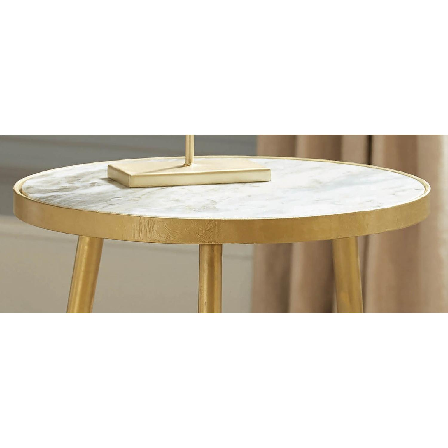 Round Accent Table w/ White Marble Top & Gold Legs