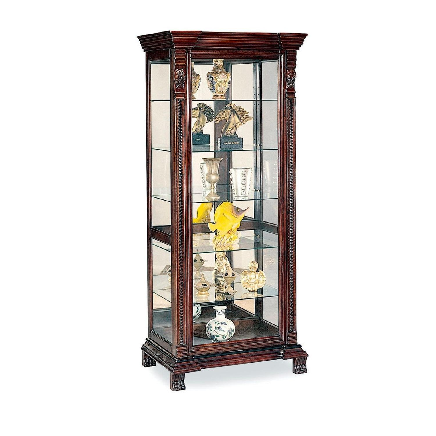 Curio Cabinet With Intricate Woodwork Carvings - image-1