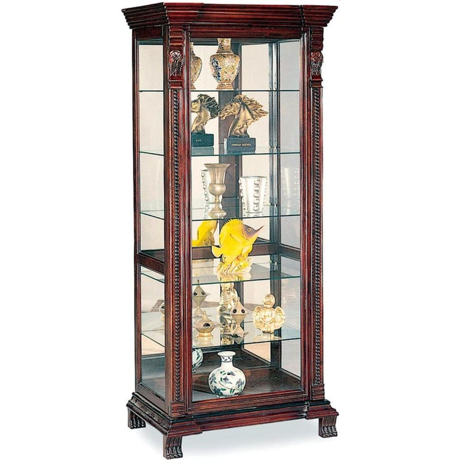 Curio Cabinet With Intricate Woodwork Carvings - image-0