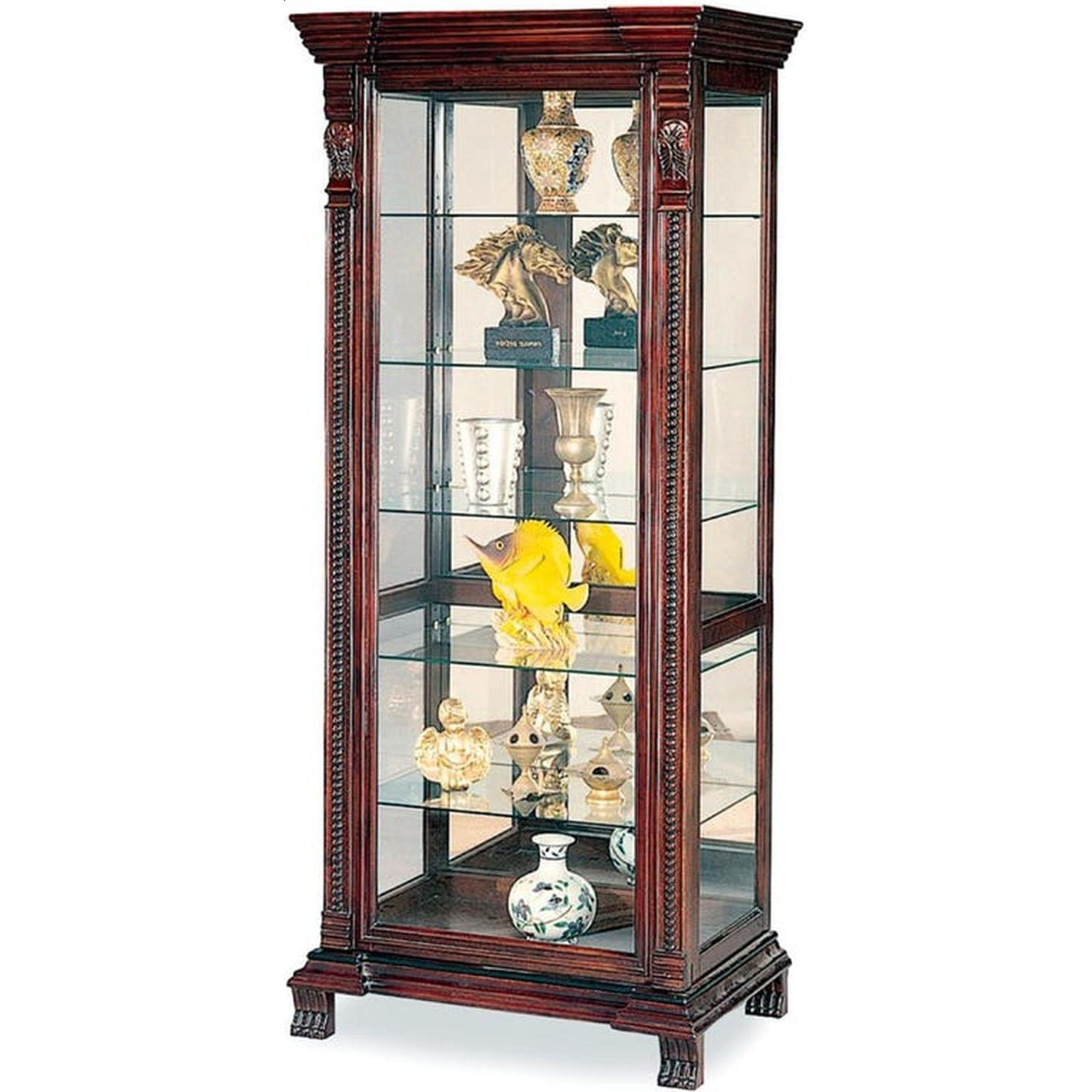Curio Cabinet With Intricate Woodwork Carvings - image-2