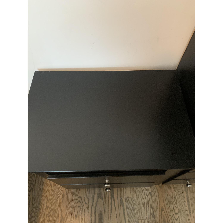 Black 2 Drawer Nightstand With Shelf