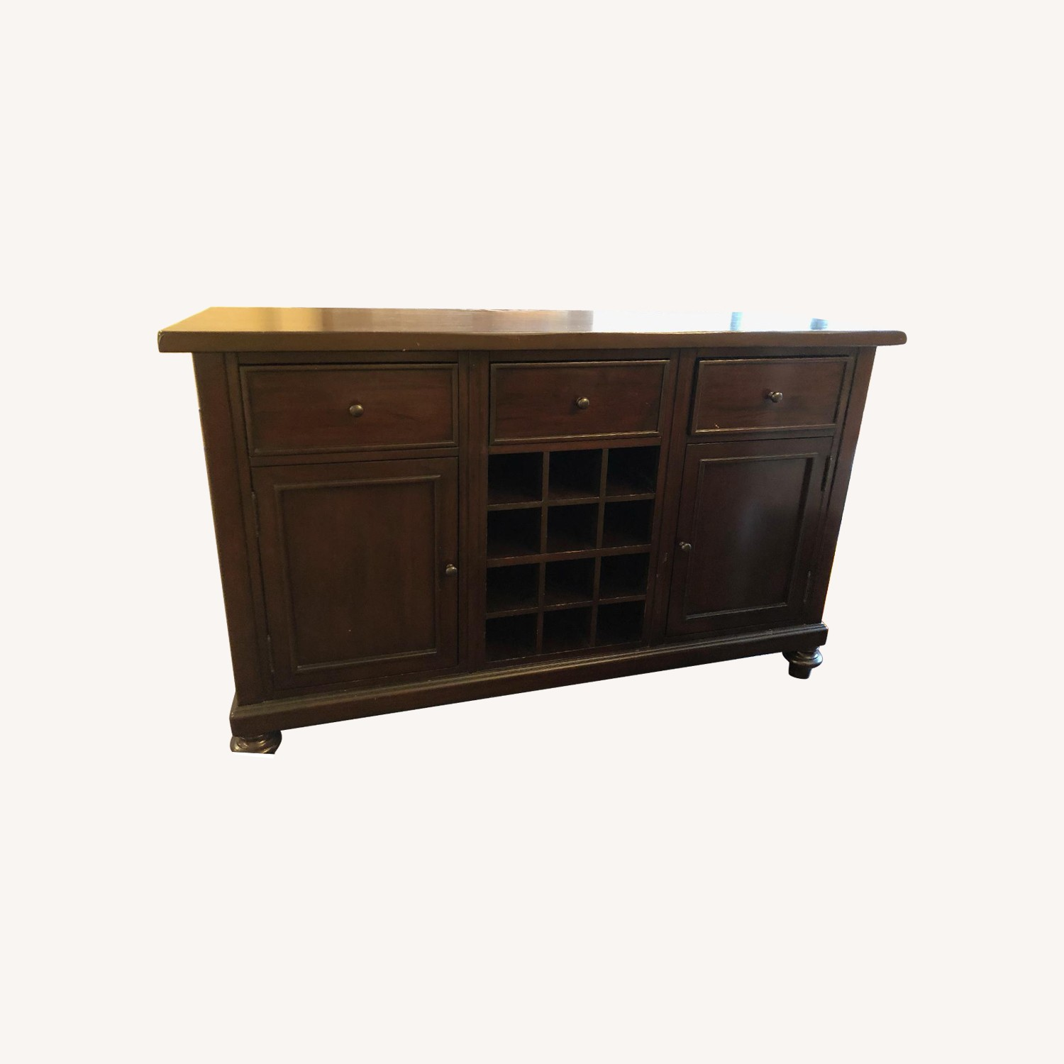 Pottery Barn Solid Dark Wood Buffet Table/Bar
