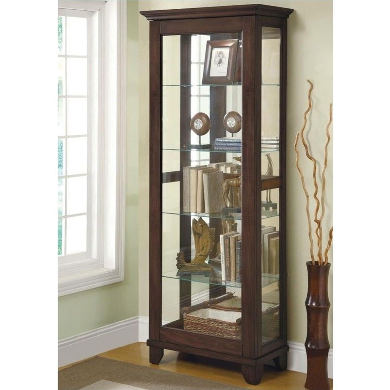 Curio Cabinet In Cappuccino w/ Mirrored Back & Top - image-1