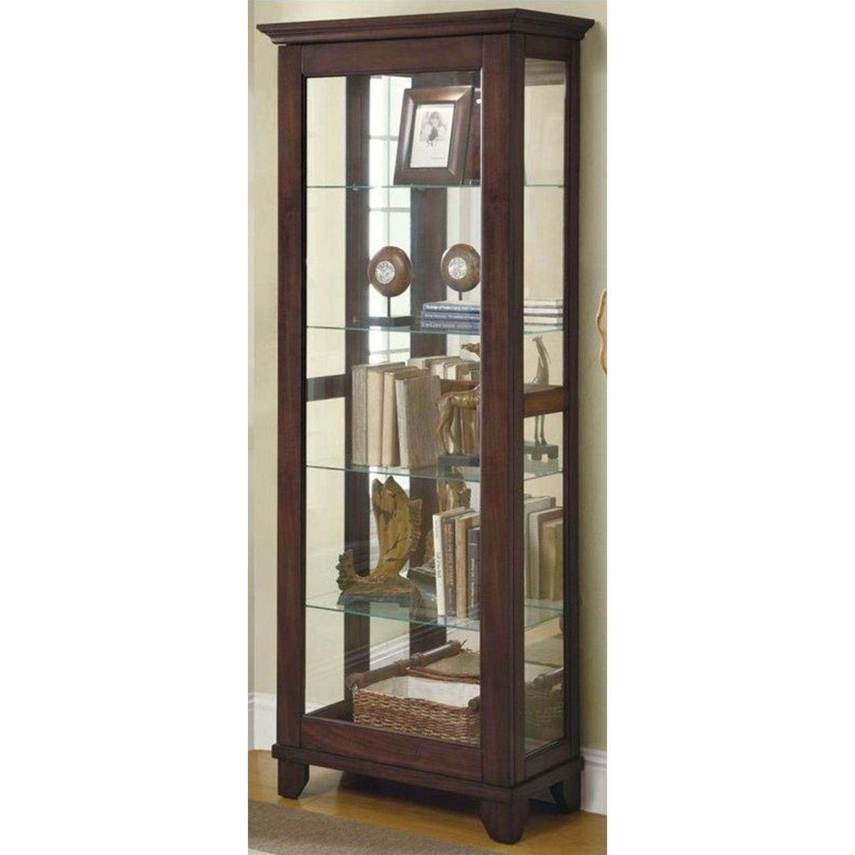 Curio Cabinet In Cappuccino w/ Mirrored Back & Top - image-2