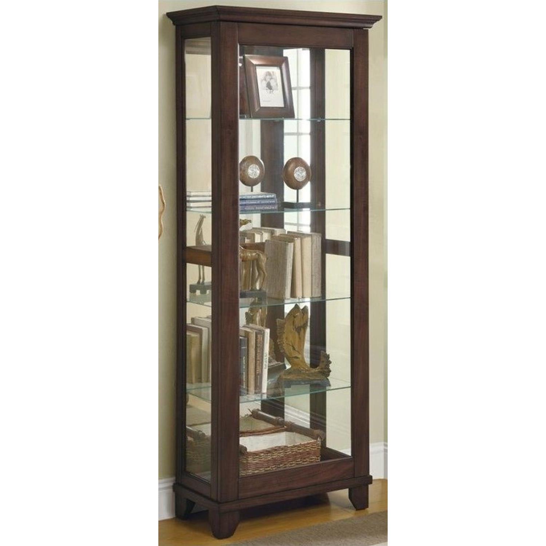 Curio Cabinet In Cappuccino w/ Mirrored Back & Top - image-4