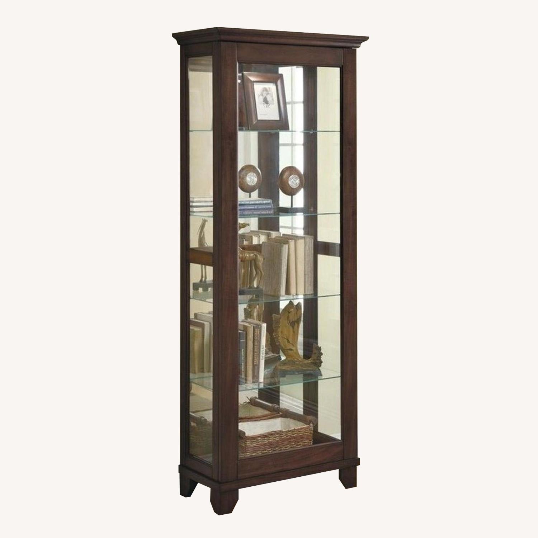Curio Cabinet In Cappuccino w/ Mirrored Back & Top - image-0