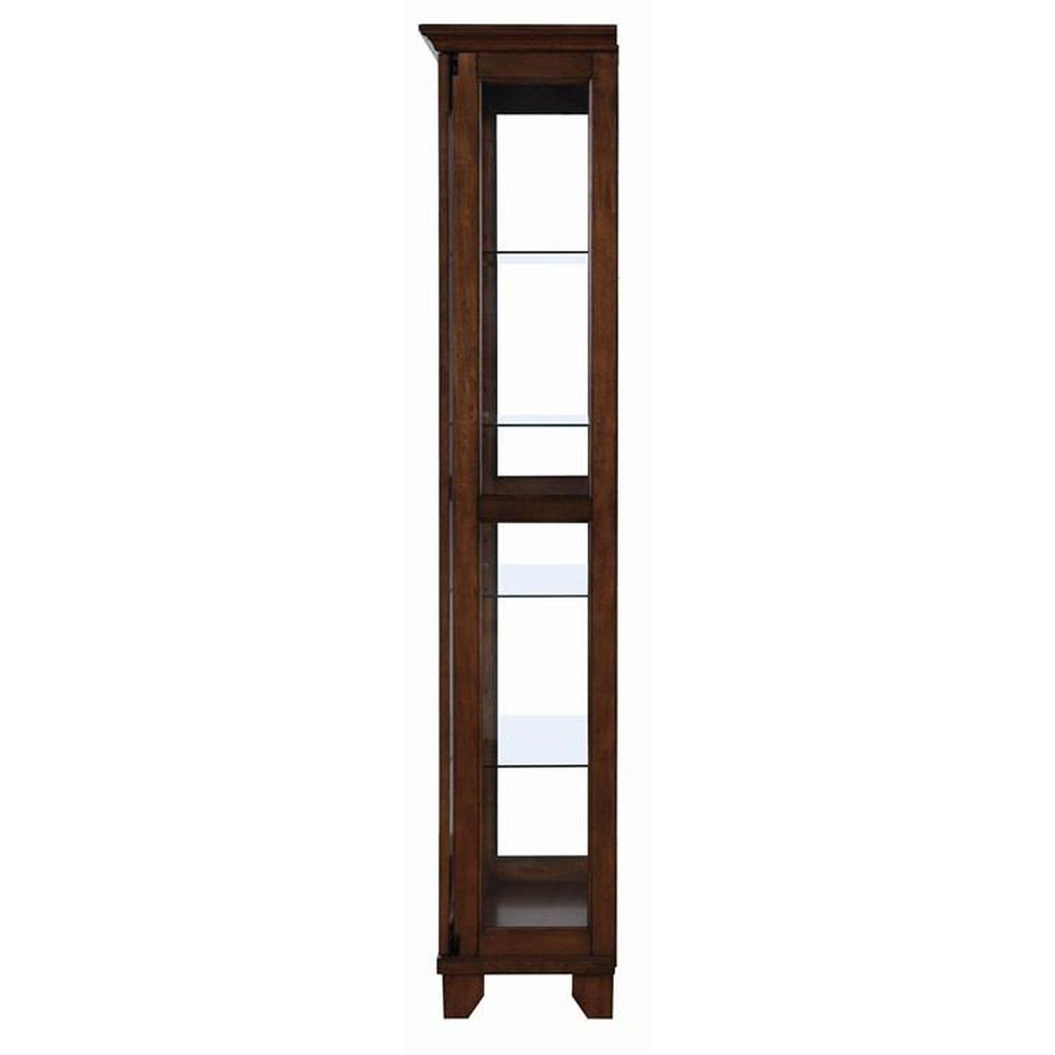 Curio Cabinet in Chestnut Finish w/ Glass Panels - image-1