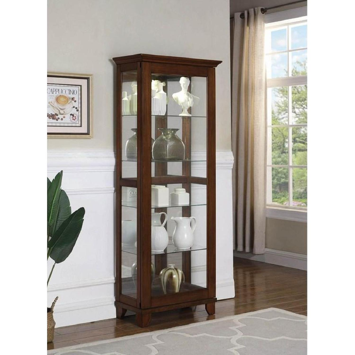 Curio Cabinet in Chestnut Finish w/ Glass Panels - image-3