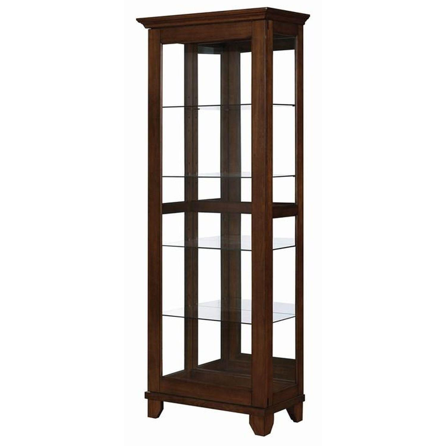 Curio Cabinet in Chestnut Finish w/ Glass Panels - image-6