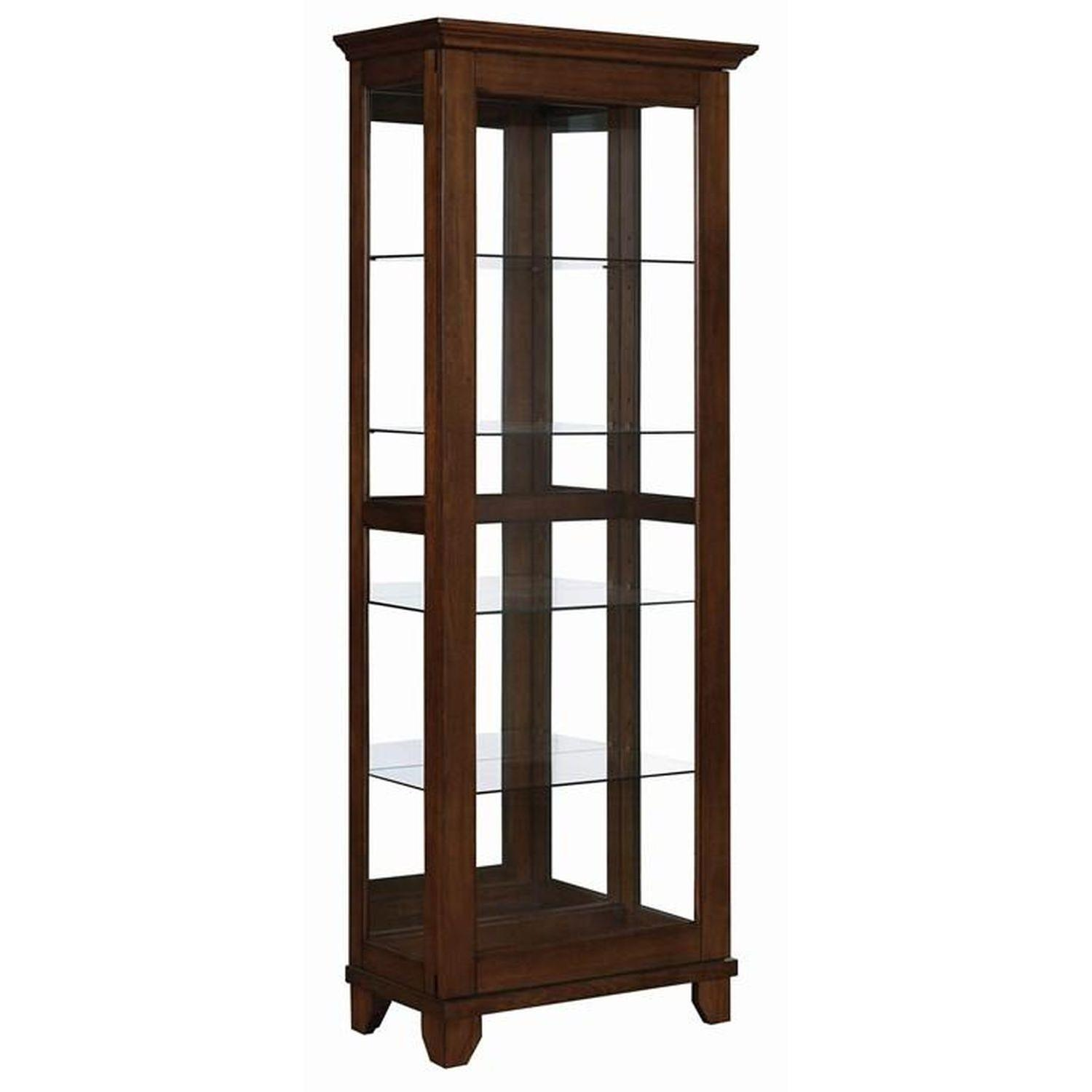Curio Cabinet in Chestnut Finish w/ Glass Panels - image-0