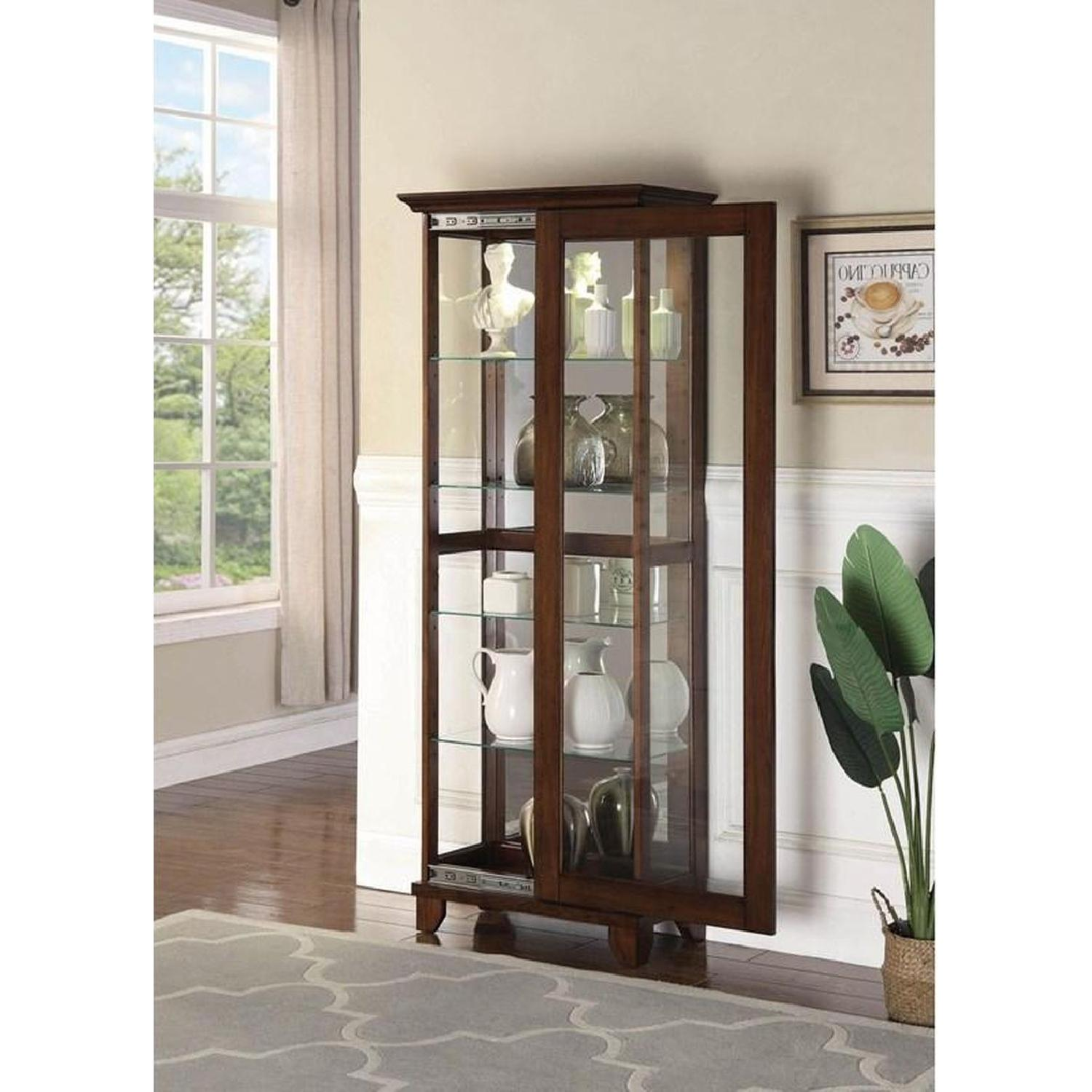 Curio Cabinet in Chestnut Finish w/ Glass Panels - image-7