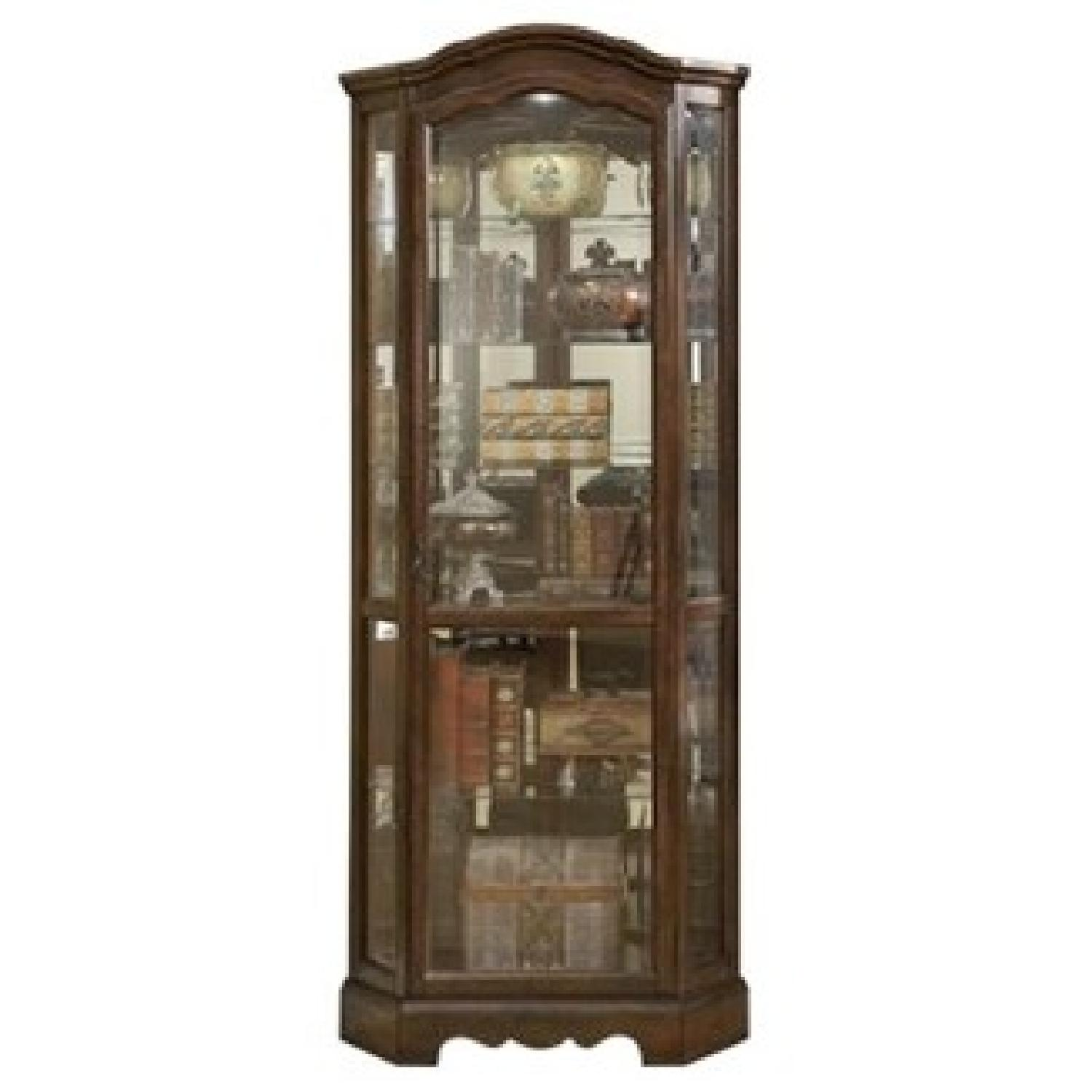 Traditional Corner Curio Cabinet in Burnished Brown Finish - image-1