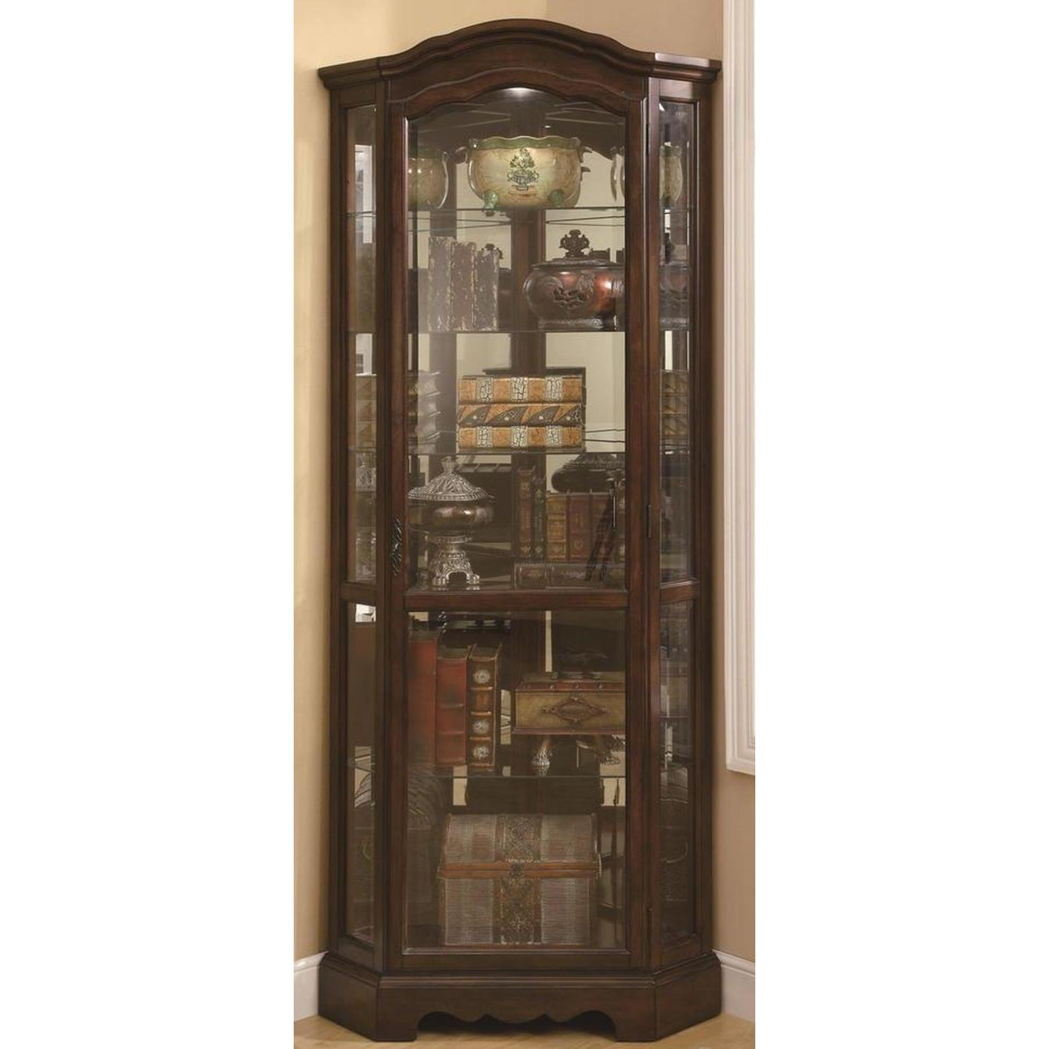 Traditional Corner Curio Cabinet in Burnished Brown Finish - image-2