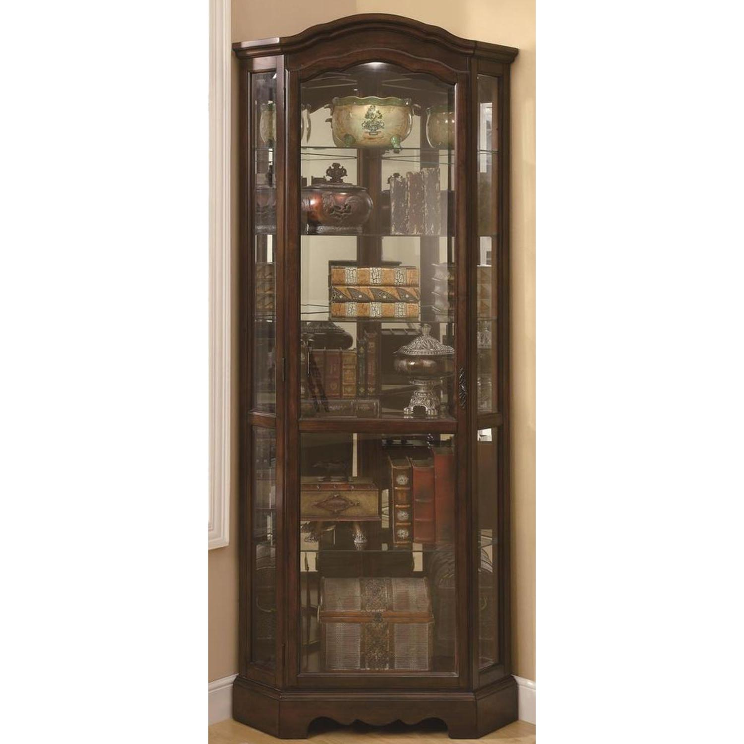 Traditional Corner Curio Cabinet in Burnished Brown Finish - image-3
