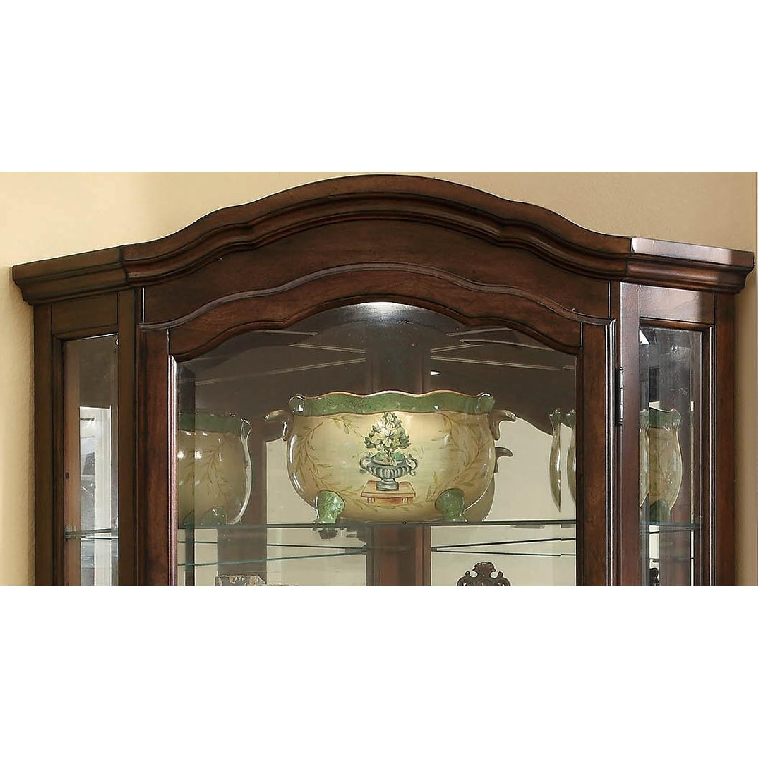 Traditional Corner Curio Cabinet in Burnished Brown Finish - image-4