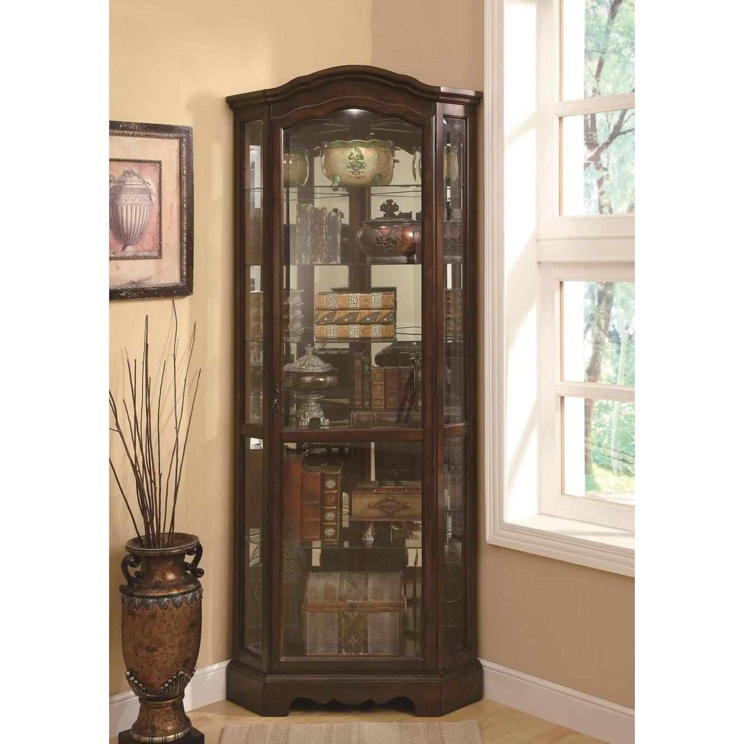 Traditional Corner Curio Cabinet in Burnished Brown Finish - image-5