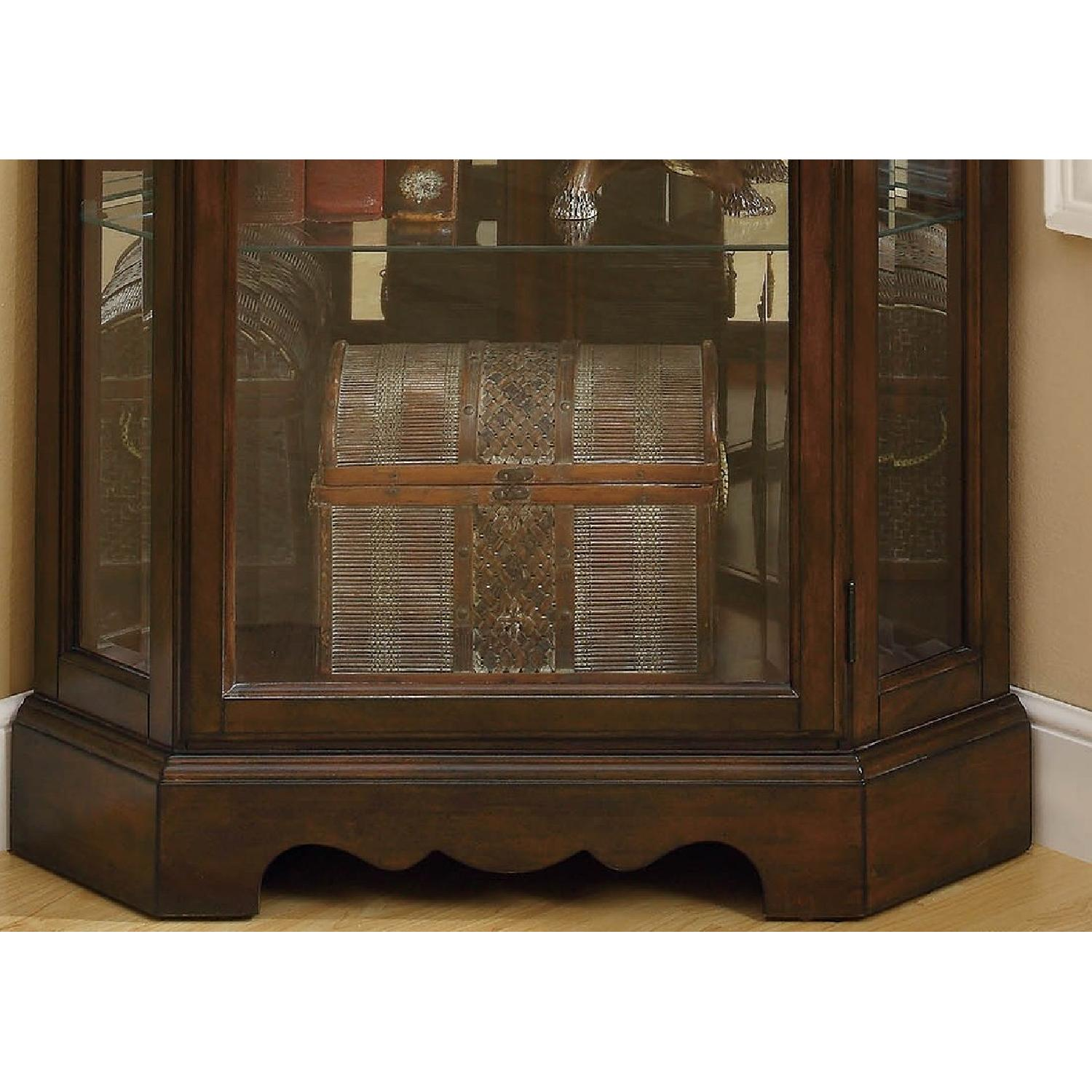 Traditional Corner Curio Cabinet in Burnished Brown Finish - image-6