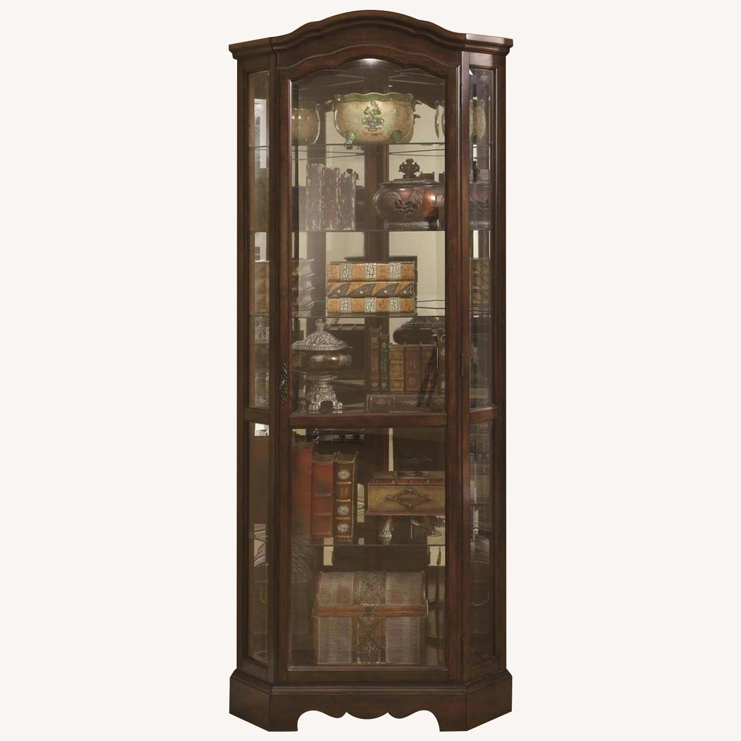 Traditional Corner Curio Cabinet in Burnished Brown Finish - image-0